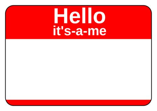 """It's-A-Me"" Name Tag pre-designed label template for OL5030"