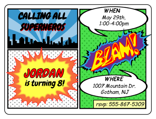 "OL500 - 4"" x 3"" - Comic Book Birthday Invite"