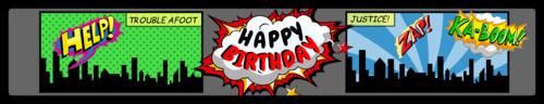 "OL435 - 8.1875"" x 1.375"" - Comic Book Birthday Water Bottle Label"