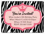 Zebra Birthday Invite