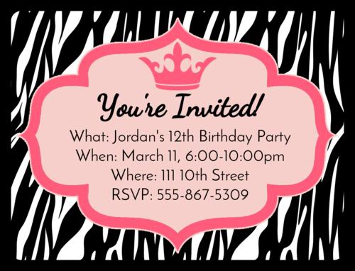 """OL500 - 4"""" x 3"""" - Zebra Birthday Invite"""
