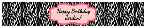 "OL435 - 8.1875"" x 1.375"" - Zebra Birthday Water Bottle Labels"