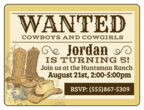 Cowboy Themed Birthday Invite
