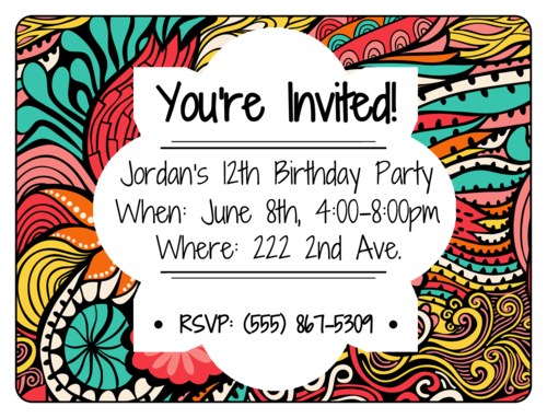 "OL500 - 4"" x 3"" - Colorful Birthday Party Invite"