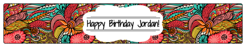 """OL435 - 8.1875"""" x 1.375"""" - Colorful Birthday Water Bottle Label"""