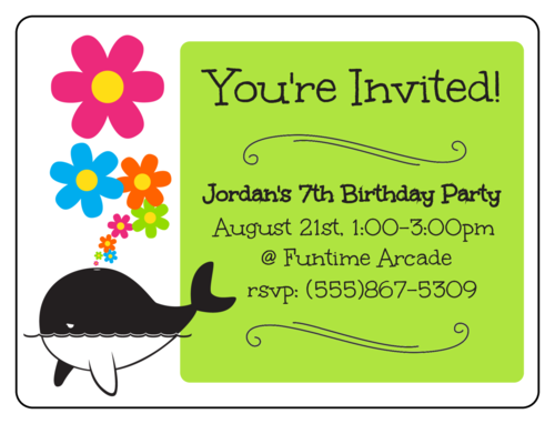 "OL500 - 4"" x 3"" - Whale Birthday Party Invite"