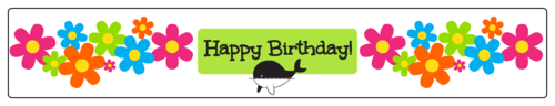 "OL435 - 8.1875"" x 1.375"" - Whale Birthday Water Bottle Label"