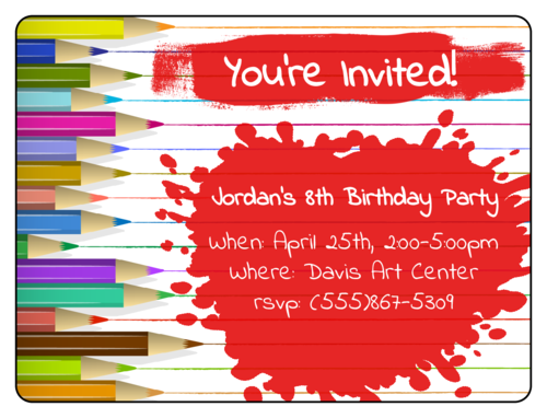 "OL500 - 4"" x 3"" - Art Birthday Party Invite"