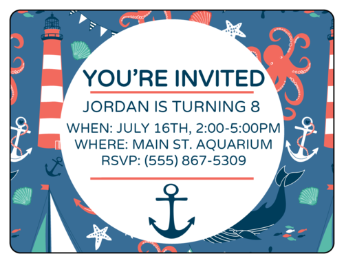 "OL500 - 4"" x 3"" - Nautical Birthday Invite"