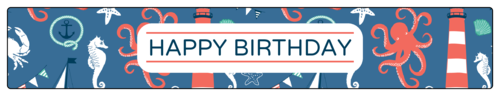 "OL435 - 8.1875"" x 1.375"" - Nautical Birthday Water Bottle Labels"