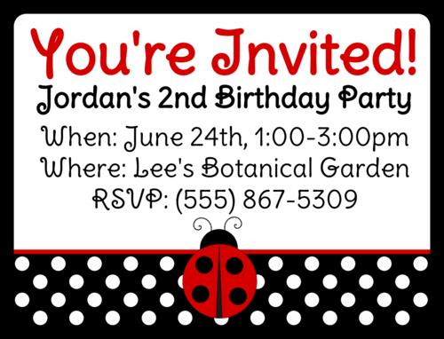 """OL500 - 4"""" x 3"""" - Ladybug Birthday Invite"""