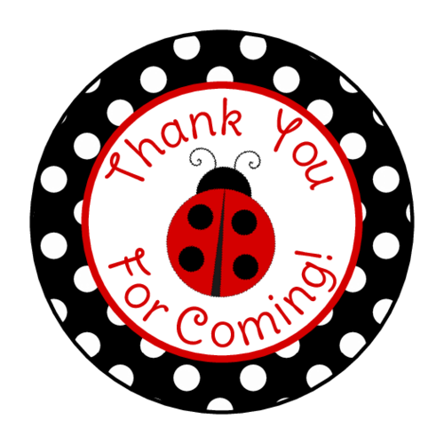 "OL2088 - 1.5"" Circle - Ladybug Birthday Gift Tag Labels"
