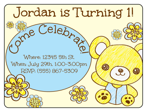 "OL500 - 4"" x 3"" - Teddy Bear Birthday Invite"