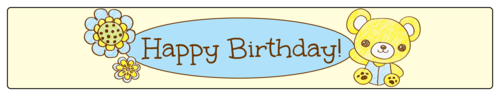 "OL435 - 8.1875"" x 1.375"" - Teddy Bear Birthday Water Bottle Labels"