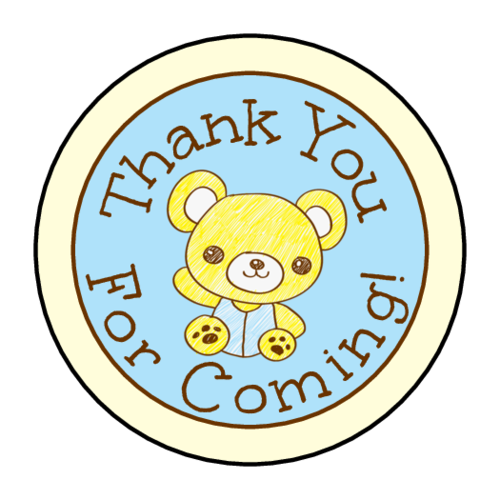 "OL2088 - 1.5"" Circle - Teddy Bear Birthday Goody Bag Labels"