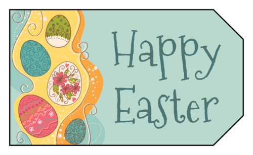 "OL1763 - 1.75"" x 3"" - Happy Easter Eggs Gift Tag"