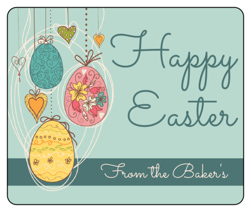 Wine bottle label template for Easter lunch - colored Easter eggs with Happy Easter and from label