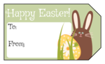 Happy Easter Bunny and Egg Gift Tag