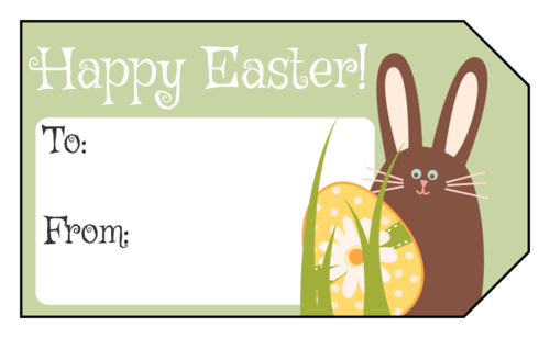 "OL1763 - 1.75"" x 3"" - Happy Easter Bunny and Egg Gift Tag"