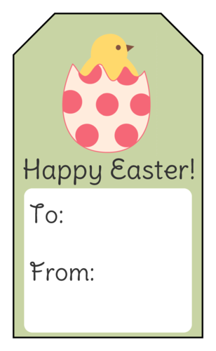 "OL1763 - 1.75"" x 3"" - Happy Easter Chick Gift Tag"