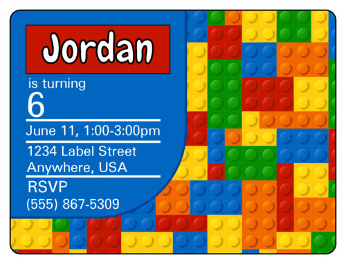 "OL500 - 4"" x 3"" - Builder's Birthday Party Invite"