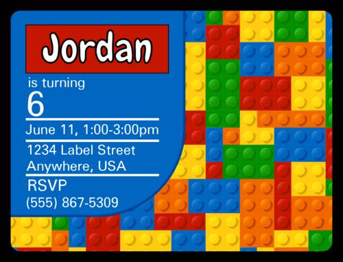 "OL500 - 4"" x 3"" - Builder's Birthday Party Invite"