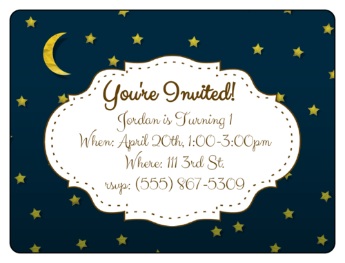 "OL500 - 4"" x 3"" - Starry Night Birthday Invite"