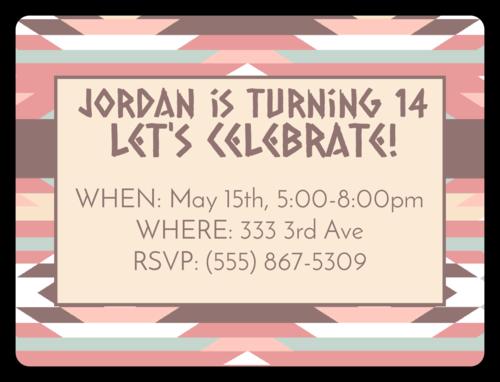 "OL500 - 4"" x 3"" - Western Birthday Party Invite"
