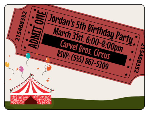 "OL500 - 4"" x 3"" - Circus Birthday Party Invite"