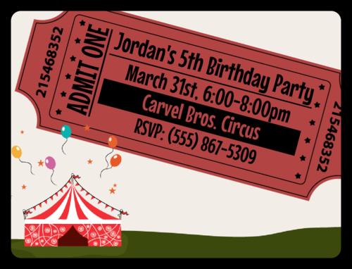"OL500 - 4"" x 3"" - Circus Birthday Party Invite"
