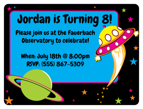"OL500 - 4"" x 3"" - Space Birthday Invite"
