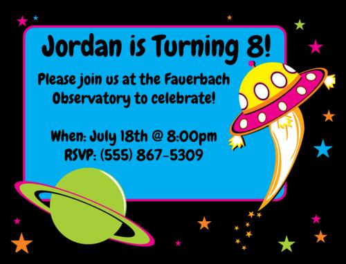 "OL500 - 4"" x 3"" - Space Birthday Invite"