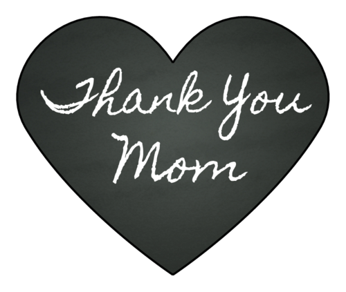"""Thank You, Mom"" Chalkboard Hearts pre-designed label template for OL196"