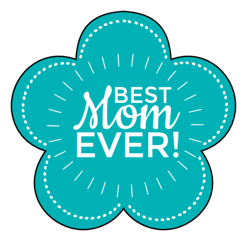 """Best Mom Ever!"" Flowers pre-designed label template for OL260"
