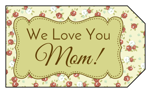 "OL1763 - 1.75"" x 3"" - ""We Love You Mom!"" Floral Gift Tags"