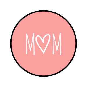 "OL1025 - 1"" Circle - ""Mom"" Kisses Labels"