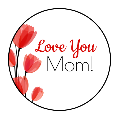 "OL1025 - 1"" Circle - ""Love You Mom!"" Circle Labels"