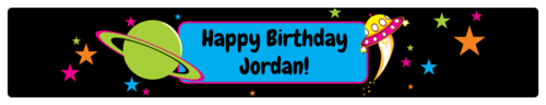 """OL435 - 8.1875"""" x 1.375"""" - Space Birthday Water Bottle Labels"""