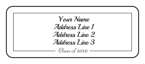 Elegant graduating class of 2020 label template for addressing card envelopes