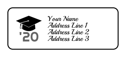 Graduation address label template with cap, tassel, and year