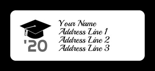 """OL385 - 1.75"""" x 0.666"""" - Graduation Cap Address Labels"""