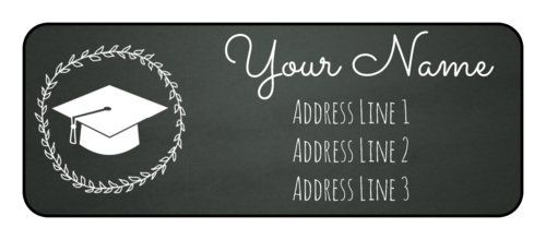 Chalkboard-themed graduation address label template