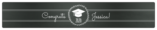 Chalkboard-themed graduation label template for labeling water bottles at your party