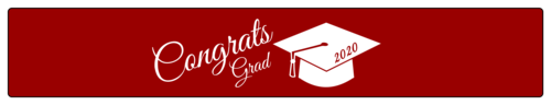 """Congrats grad"" graduation water bottle label template with cap and tassel"