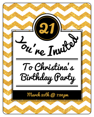 "OL162 - 3.75"" x 4.75"" - Gold Glitter Wine Label Invites"