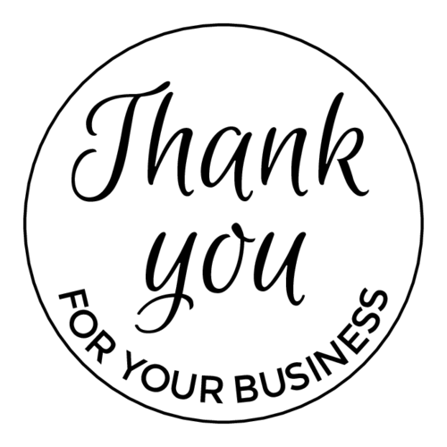 """Thank You For Your Business"" Circle Label pre-designed label template for OL2682"