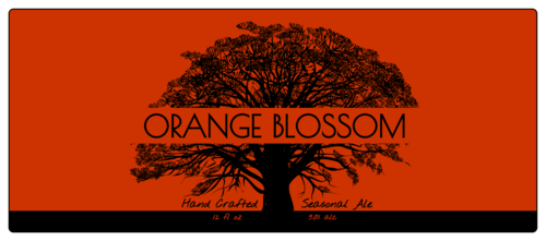 "OL2921 - 7.375"" x 3.125"" - Tree Silhouette Beer Bottle Label"