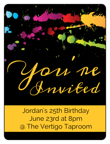 "OL500 - 4"" x 3"" - Paint Splatter Birthday Invite Wine Label"