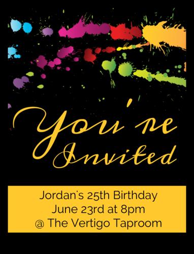 "OL500 - 4"" x 3"" - Paint Splatter Birthday Invite Wine Label"