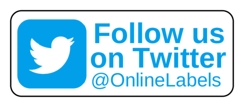 "OL875 - 2.625"" x 1"" - ""Follow us on Twitter"" Business Labels"
